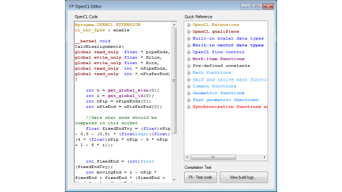 <img src='http://amd-dev.wpengine.netdna-cdn.com/wordpress/media/2013/04/27-lab3d-log-ed.png' class='alignright'><p>OpenCLTemplate is a tool that makes it easier to use OpenCL with Microsoft Visual C#. Included with OpenCLTemplate is OpenCL Editor, a tool to quickly compile and check if your code is working.</p><a href='http://www.cmsoft.com.br/index.php?option=com_content&view=section&id=13&Itemid=66' target='blank' class='action'>Learn More</a>