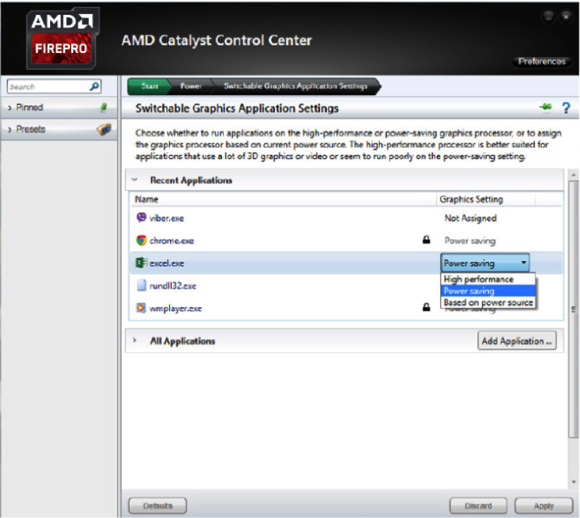 Power management settings for switchable graphics with AMD Enduro™ technology